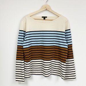 J. Crew Cotton striped long sleeve top sz XL
